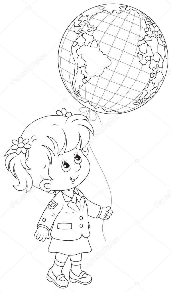 Bildresultat För Balon Tutan Kız çocuğu Boyama Sayfası Heart