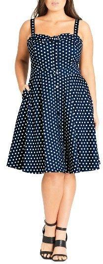 Plus Size Bow Polka Dot Dress