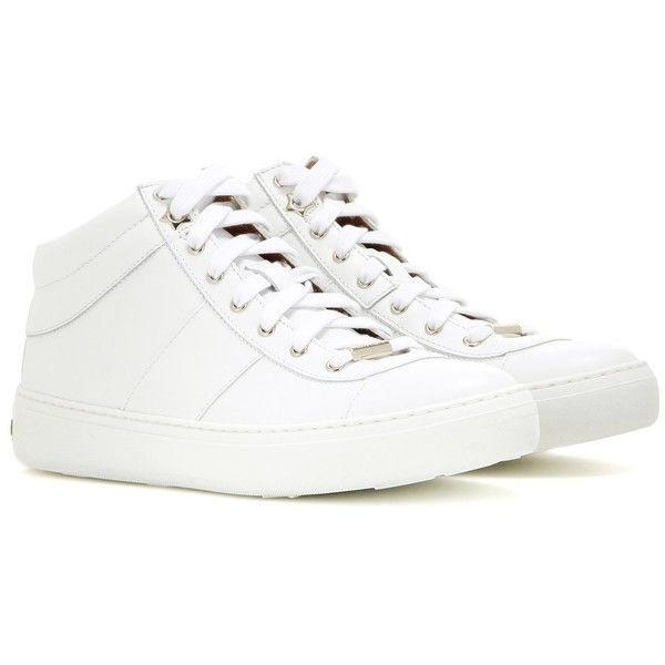 Jimmy Choo Bells Leather Sneakers (\u20ac385) ? liked on Polyvore featuring shoes ,