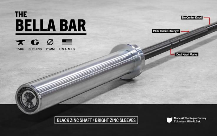 The Bella 2.0 - Rogue Women's Bar - 15KG Barbell - 25mm Diameter