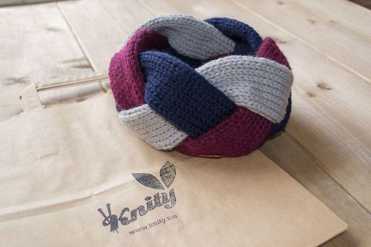 Beautiful woman headband braid three colors, burgundy , deep blue and gray. Made from merino yarn.