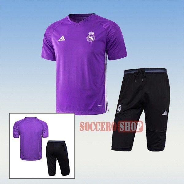 Popular Thai Quality Pre-Match Real Madrid Purple Training Jersey Kits + 3/4 Training Pants 2017 2018