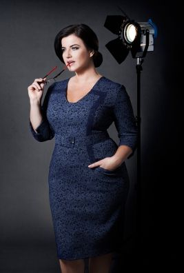 Dea London designer plus size women: BLUE BELTED V-NECK DRESS with contrast line and 3/4sleevesType: DressSuits Body Type: HourglassColours:  BlueFabric composition:  52% ACRYLIC; 35% POLYESTER; 11%NYLON; 2%ELASTANBrand: Dea LondonSizes: 16; 18; 20; 22; 24; 26Care label: All garments are dry clean onlySeason: Autumn/Winter 2015 Made in: UKComments from the Designer, Jelena Fehmi: Blue Dress