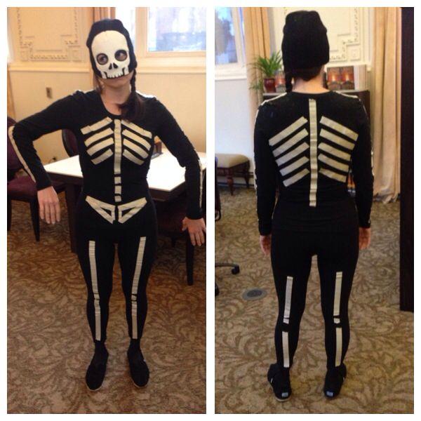 Cheap Easy Halloween Costume Skeleton. Masking Tape And