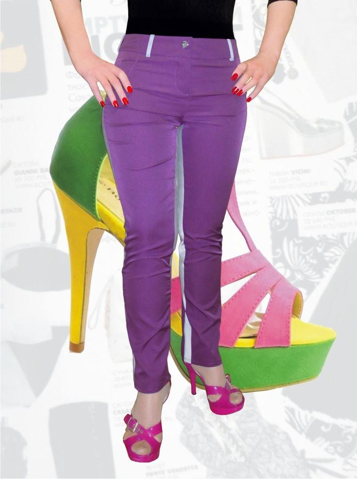 47$ Узкие брюки для полных девушек яркие Артикул 661, р50-64