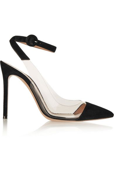 Heel measures approximately 105mm/ 4 inches Black suede, clear PVC Buckle-fastening ankle strap Made in Italy Small to size. See Size & Fit notes.