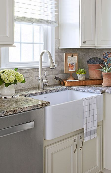 Dish duty becomes a little sweeter with a few stylish and practical kitchen updates create a convenient cleanup zone by pairing a charming farmhouse sink
