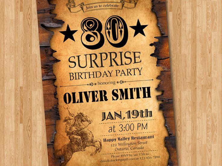 80th Birthday Invitation. Western Theme Birthday for Men