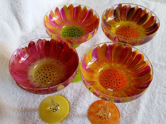 Hand painted Margarita glasses  set of four  Summer Floral