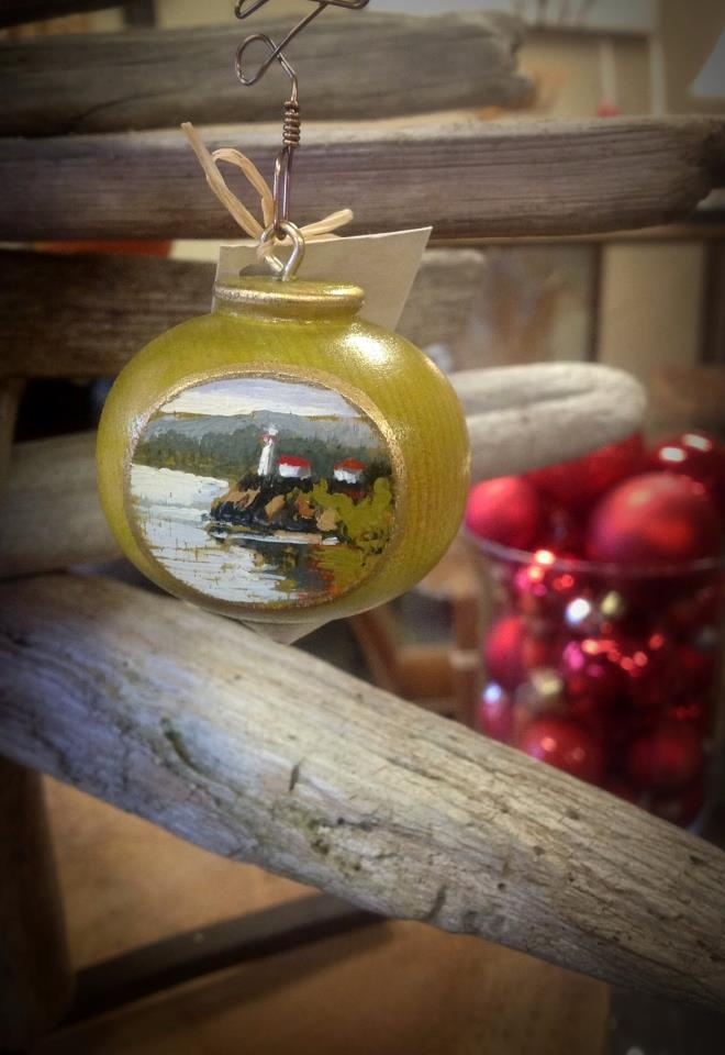Salish Sea Market - Hand painted Christmas Tree Ornaments by Cindy Mawle.