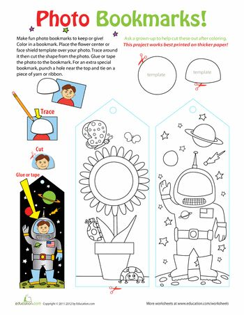 "Download en maak je eigen boekenlegger met je foto | Worksheets: Photo Bookmarks | Great craft ideas at Pinterest account ""kinderopvangnl"" (Roos Gast)"