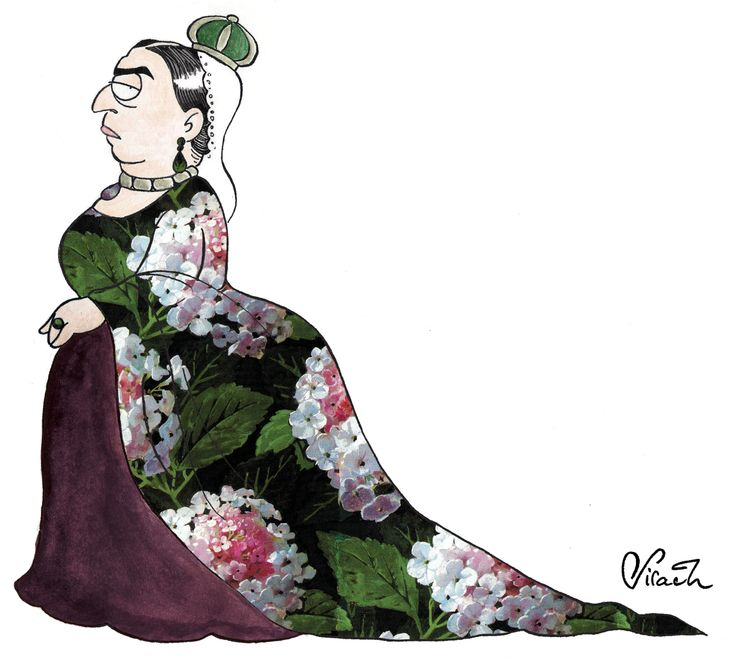 """Queen Victoria! The first illustration I made for the series """"Important Women in History"""". The pattern is a 19th century french textile pattern."""