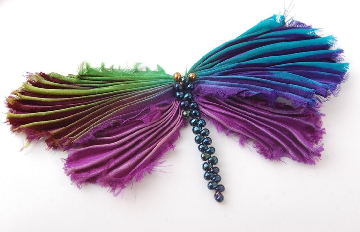 Silk shibori dragonfly pin, shiborigirl.