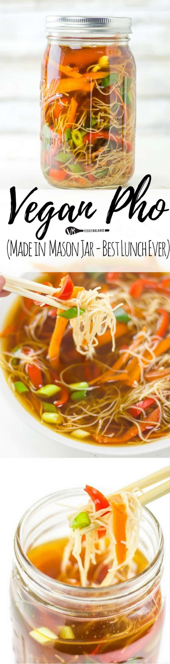 Pho Soup Made at Home in Mason Jars is perfect for those meal-prepping Sundays. Packed with vegetables, rice noodles and soothingly warm liquid you'll be looking forward to for lunch. (Gluten Free, Da (Gluten Free Recipes Rice)