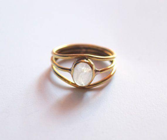 Moonstone Stacking Ring, Brass Ring, Bohemian Ring, Gemstone Ring, Ethnic Ring…