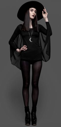 Love this batwing tunic and crescent moon necklace - vamp it up x
