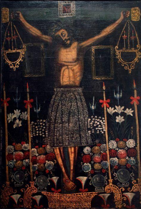 """Señor de los Temblores -ca. 1850 61"""" x 41.875"""" Painting, oil on canvas Region: Peru - Peyton Wright Gallery"""