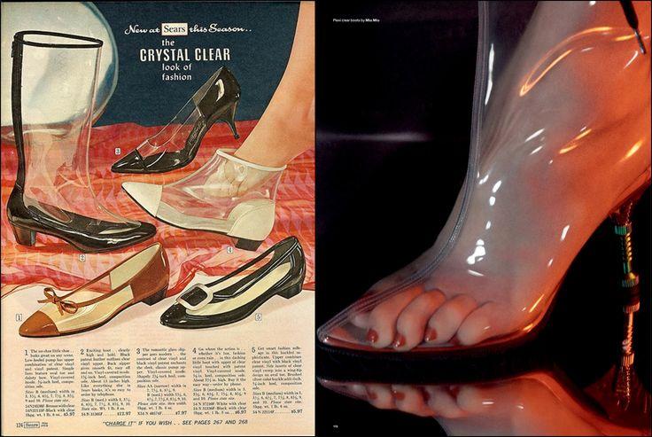 Слева: рекламный плакат обуви. 1966 г. Справа: Love Magazine . Осень-зима  2014 /15 гг. Фотограф:  Дэвид Симс (David Sims). #MiuMiu #fashion #fashioninspiration #style #60s #1960s #SperanzaFirsace