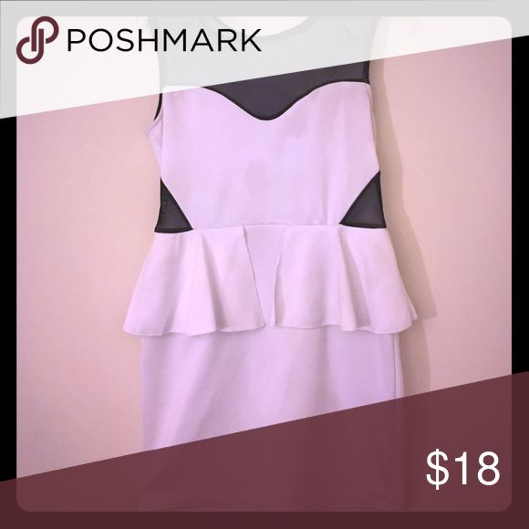 White Peplum Dress All white peplum dress with black mesh top and mesh sides. Dresses Mini