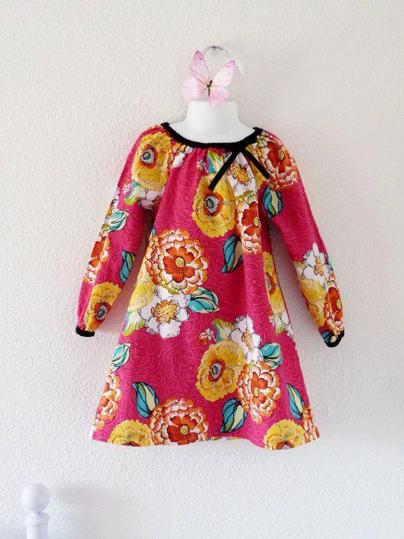 Girl long sleeves dress sizes 2T 4T or 6 par LittlePoupettes