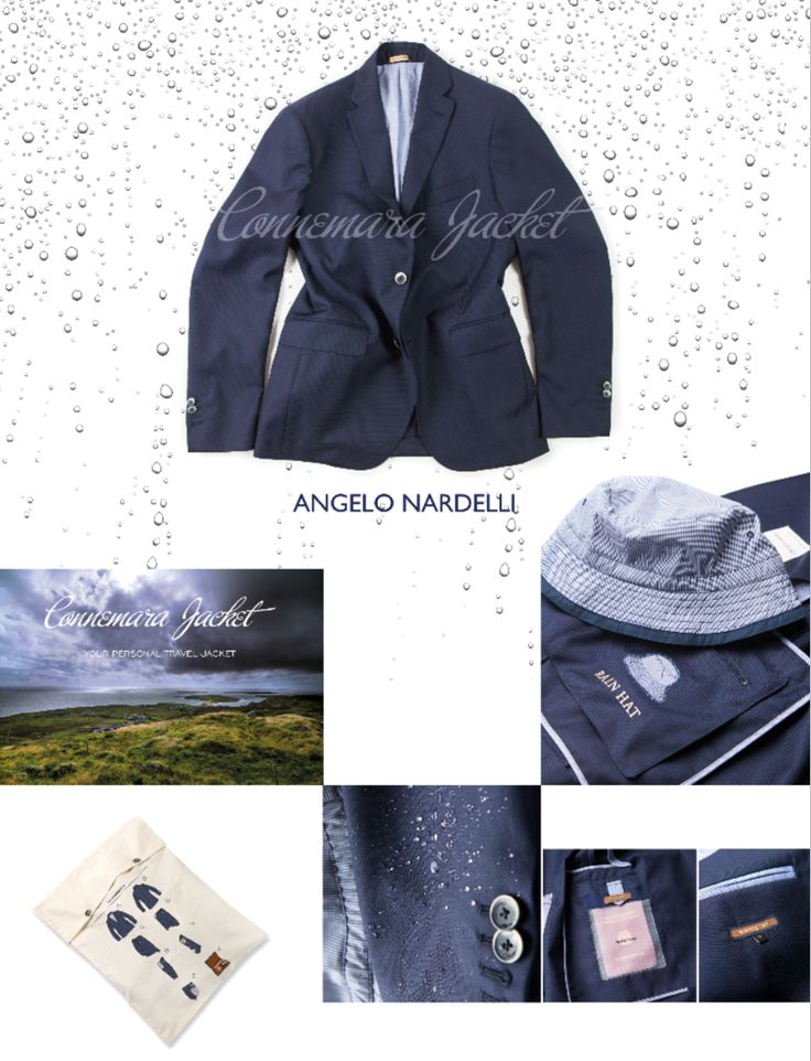 #ConnemaraJacket is #AngeloNardelli last born. It is a blazer conceived for those who travel a lot. A light, #WaterProof, #AntiStain and #AntiWrinkle garment. There are different pockets for documents, a hidden #AntiRain #Hat, and a comfortable #Sack with instructions used as packaging.