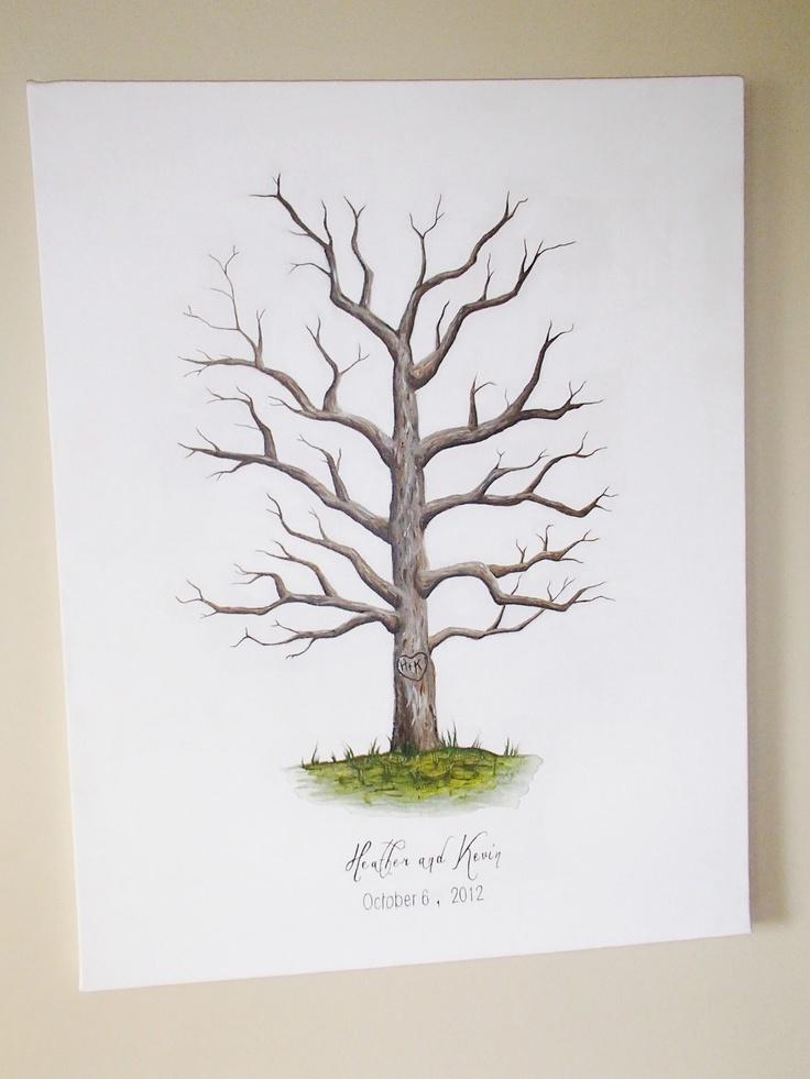 Handpainted Canvas Thumbprint Tree-Guest Book- Wedding-200 to 300 Thumbprints- Original Artwork.