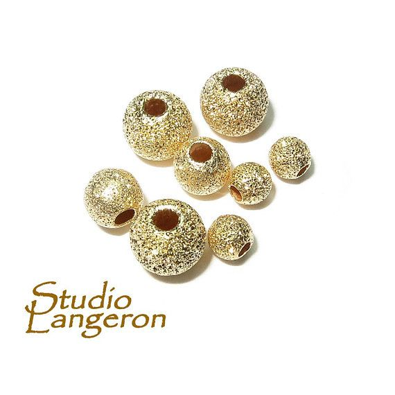 14K Gold Filled Round Stardust Beads Gold Beads Gold Filled Beads and Findings