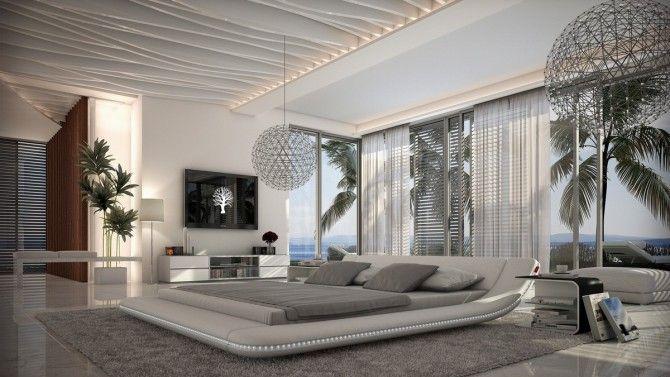 Lit moderne 160x200 cm blanc en cuir simili avec LEDs - Apex