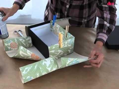 Como forrar una caja de carton con cartulinas - Maria Jose Roldan - YouTube