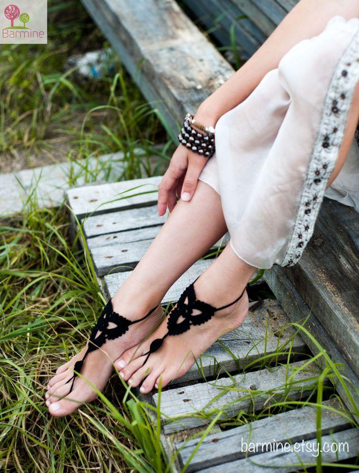 "Black Crochet a piedi nudi sandali scarpe Nude piedi di barmine---da""A piedi nudi""diⓛⓤⓐⓝⓐ"