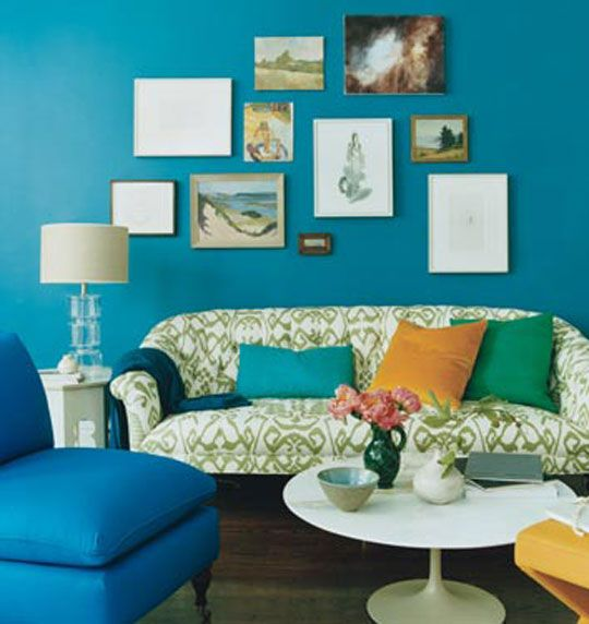 inspiration: a painted wall in domino magazine | teal walls and teal