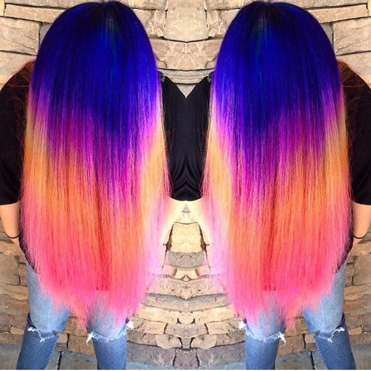 Neon Rainbow Hair Color by Ella Parrie http://hotonbeauty.com Mermaid hair Unicorn hair Hair color melt Hair painting