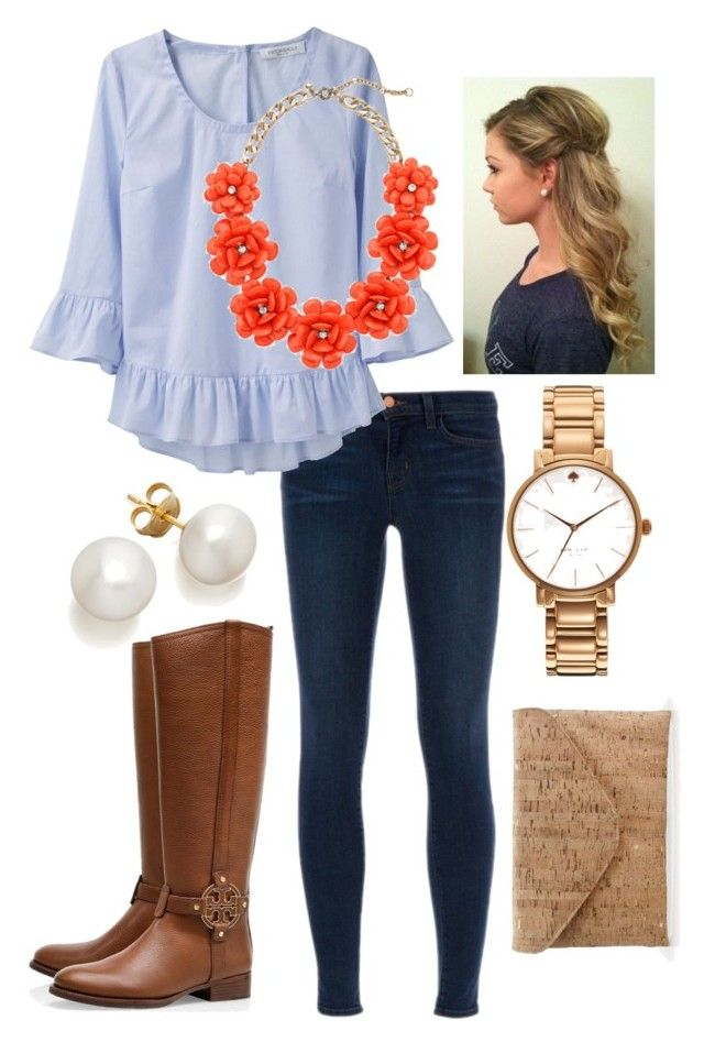 """Chambray"" by the-southern-prep ❤ liked on Polyvore featuring J Brand, Viktor & Rolf, J.Crew, Tory Burch and Kate Spade"