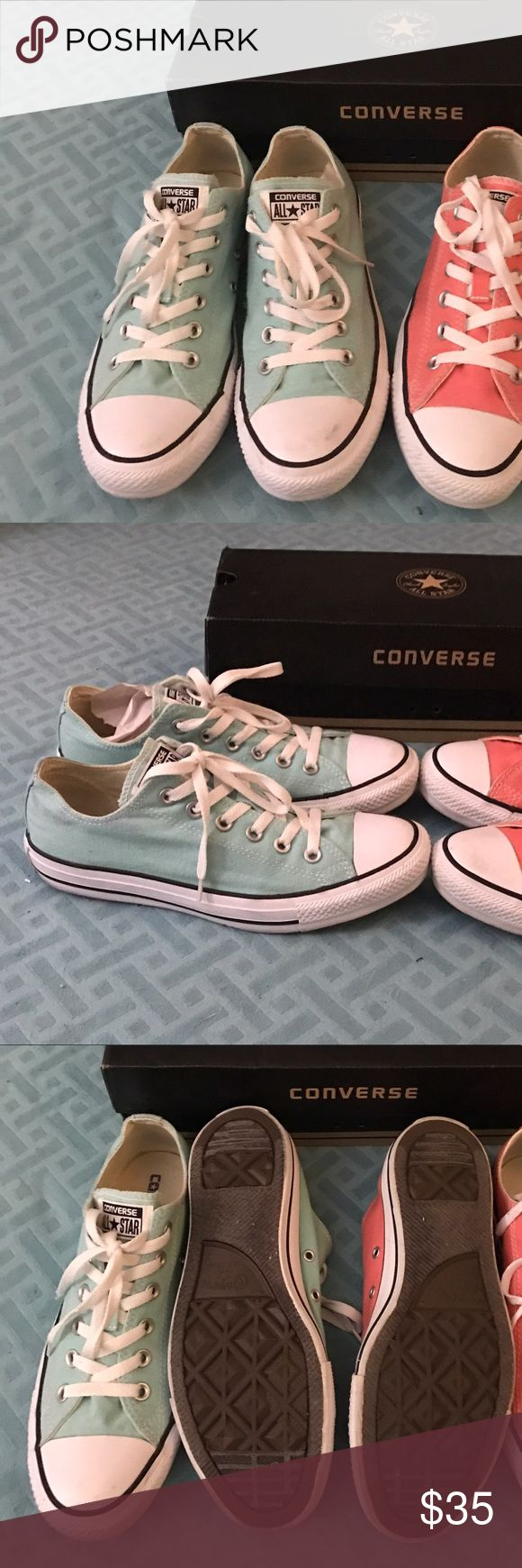 1 pair of mint converse all stars only EUC Mint canvas chucks go with so much! Worn 1x the coral are sold Converse Shoes Sneakers
