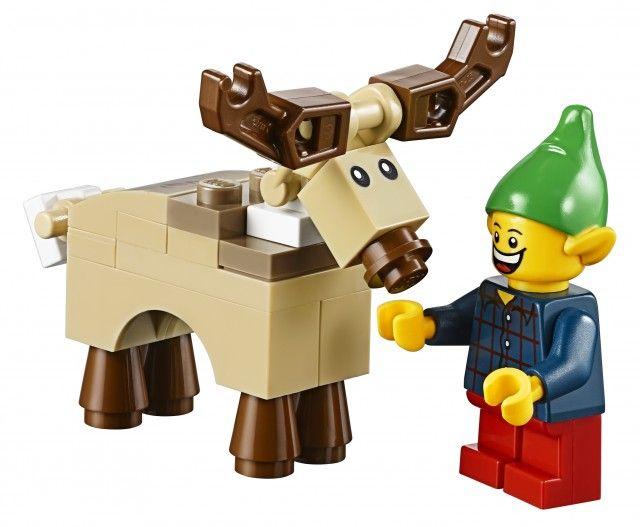 lego instructions reindeer | LEGO Christmas Elf Minifigure with LEGO Reindeer Winter Village 2014