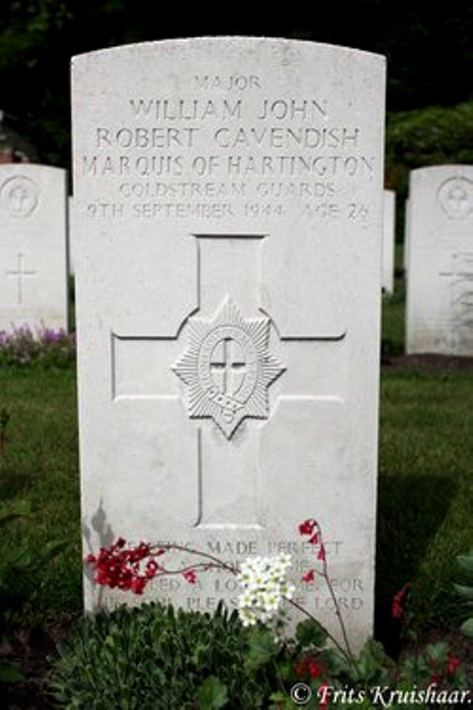 """The grave of William """"Billy"""" Cavendish         .❤❁❤ RIP❤❁❤ (Cavendish married socialite Kathleen Agnes """"Kick"""" Kennedy on 6 May 1944 http://en.wikipedia.org/wiki/Kathleen_Cavendish,_Marchioness_of_Hartington    http://en.wikipedia.org/wiki/William_Cavendish,_Marquess_of_Hartington"""