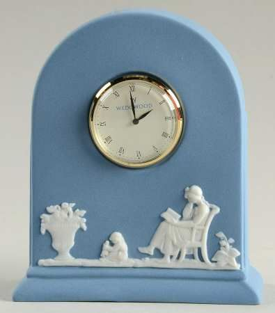 Wedgwood Jasper Classic-White on Pale Blue Mantel Clock