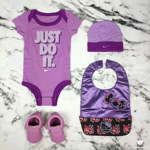 What is your mini rocking' today? Show us what your mini is wearing by #minilicious and #minioutfits #Nike two piece #onesie #FreshlyPicked #moccasins #Jujube x #HelloKitty #Sanrio be neat bib #KidsFashion #WDYWTgrid #WDYWT #OOTD #Babyfashion #RookieUSA •