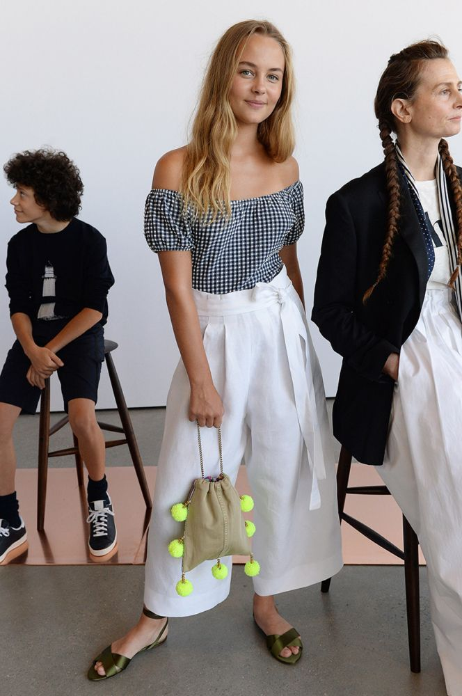 J. Crew SS17: wide leg trousers & off-the-shoulder gingham top