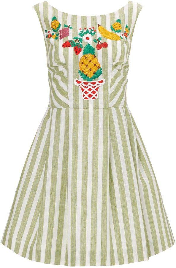 Vivetta Green Stripe Linen Embroidery Dress