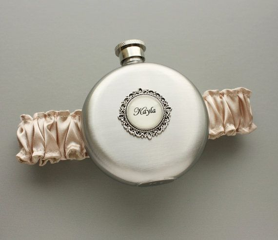 Personalized FLASK GARTER - Champagne Garter with Round Flask - Bride or Bridesmaids - Wedding Bridal Accessories - Garters - Flask Garter on Etsy, $35.00