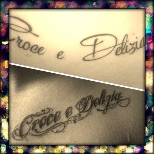 """marlene23  #casttattoo  In redazione stanno arrivando tantissime foto di tatuaggi con storie bellissime.  Grazie a tutti e continuate così!  Ecco il tatuaggio di """"marlene23"""".  """" Croce e Delizia; tattoo fatto insieme al mio fidanzato. Indica la parte dolorosa e deliziosa dell'amore… tante fatiche ma anche tante gioie!!! """"  http://tattoo.codcast.it/"""