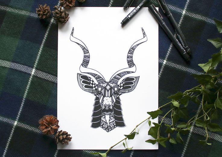 KUDU art print. @blacklinesart. www.blacklines.se #kitchen #rustic #kitchengoals #inspiration #details #wallart #tavelvägg #photowall #artist #drawing #art #blacklinesart #blackandwhite #illustration #homeinspo #artprints #artprint #poster #black #white #interior #scandinavian #swedish #design #patterns #zentangle #cat #cats #kitty #animal #animals #africa #african #antelope #horns