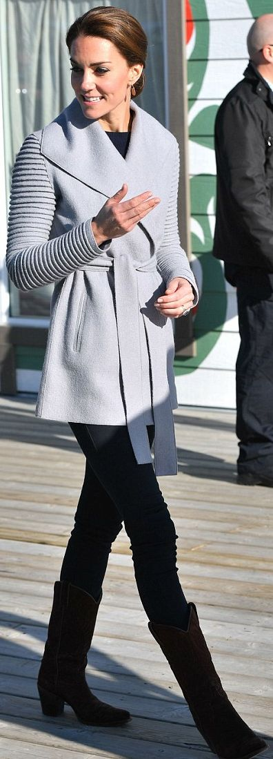 Who made Kate Middleton's gray coat, brown suede boots, and jewelry?