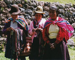 Peruvian ladies in their colorful garb