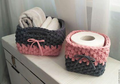 Купить или заказать Корзина интерьерная вязаная, набор розово-маренговый в интернет-магазине на Ярмарке Мастеров. Набор интерьерных корзин, вязаный из натуральной хлопковой ленточной пряжи. Изделия хорошо держат форму. Стираются. Такая милая вещица станет прекрасным дополнением к вашему интерьеру спальни, гостиной, кухни, детской и ванной комнаты, а так же может быть замечательным подарком для ваших друзей и близких.