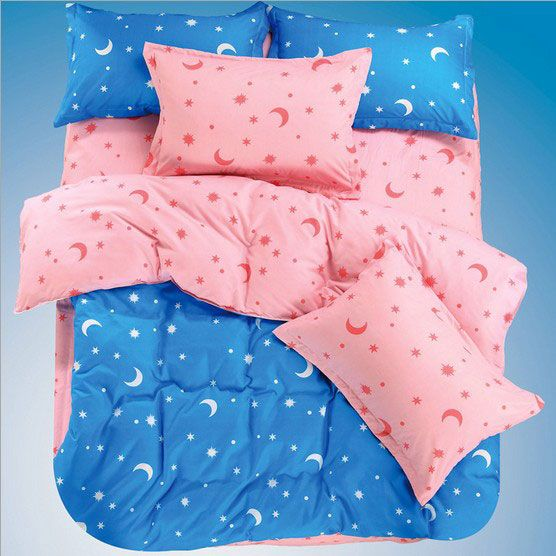 Comfortable Star and Moon Printing 4 Pieces Bedding Sets Blue