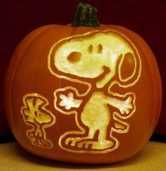 Snoopy & Woodstock pumpkin carving