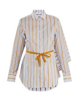 Tie-waist striped cotton shirt