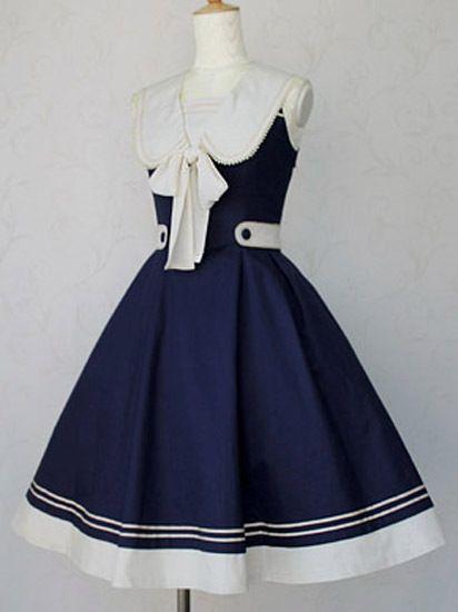 Dulce sleeveless~lolita elegante vestido de encargo vestido de marinero